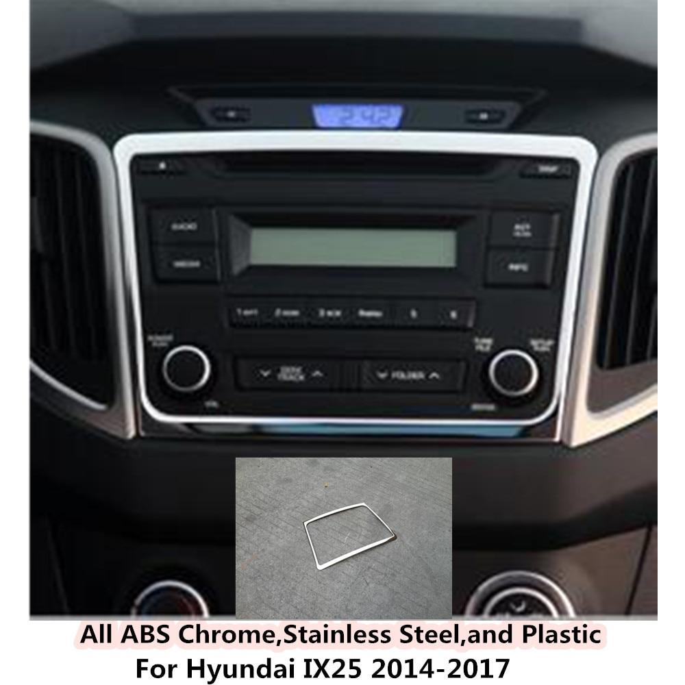 Hot sale car garnish stainless steel Center Console Navigation box Interior GPS trims 1pcs For Hyundai IX25 2014 2015 2016 2017