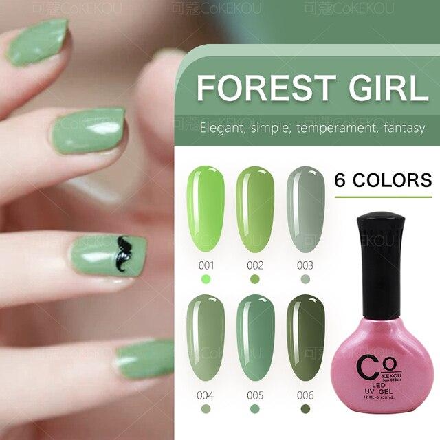 CoKEKOU gel bosque serie chica verde uñas terapia de luz verde ...