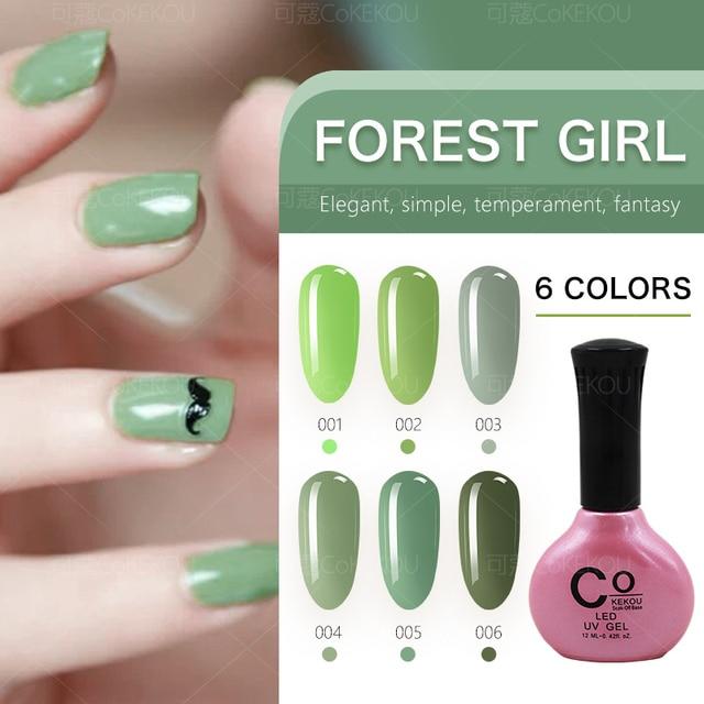 CoKEKOU nail gel forest girl series green nail polish light therapy ...