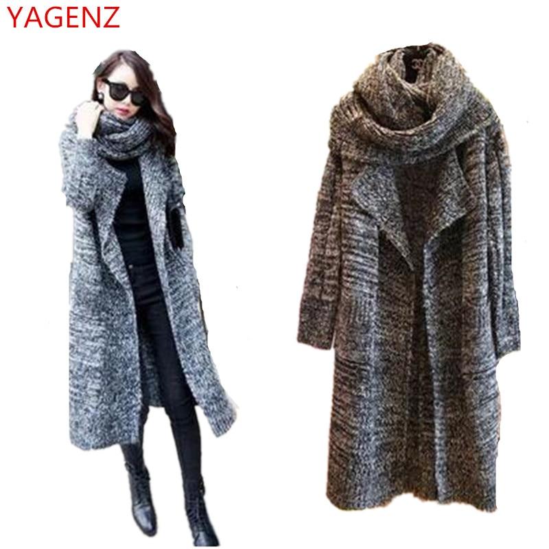 Girls Five-pointed Star Long Sweater Cardigan Korean Thicken Ups Coat