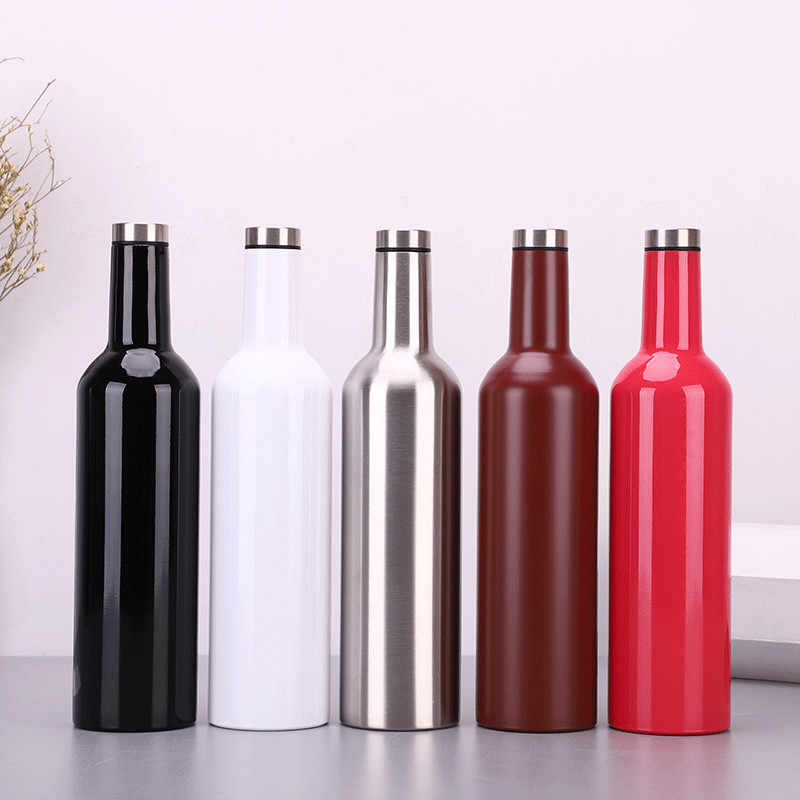 750ml 25oz Vacuum Wine Bottle 304 stainless steel flask Double Wall Vacuum Insulated Beer Wine Glasses Travel Water Bottle