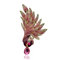 Beautiful Purple Pink Phoenix Bird Rhinestone Crystal Gold Plated Brooch Pin For Women