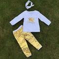 2 т-7 т ОСЕНЬ/Зима дети НАРЯДЫ корона золотые блестки брюки устанавливает девушки горячее надувательство одежда для детей с оголовьем
