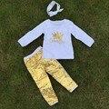 2 t-7 t OTOÑO/Invierno niños TRAJES corona de oro lentejuelas pantalón muchachas de los sistemas ropa venta caliente niños con diadema