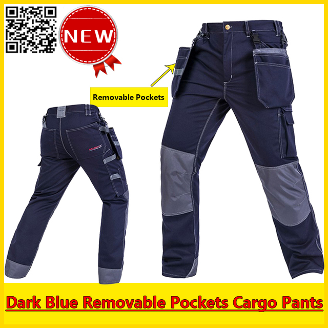 High Quality cargo pants men removable pockets dark blue men work pant work trousers workwear free shipping