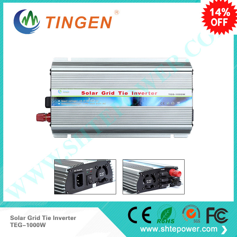 Solar inverter for home on grid tie 1000w 1kw 800w dc input 10.8-30v to ac output 220v 110v mppt solar panel 300w solar grid on tie inverter dc 10 8 30v input to two voltage ac output 90 130v 190 260v choice
