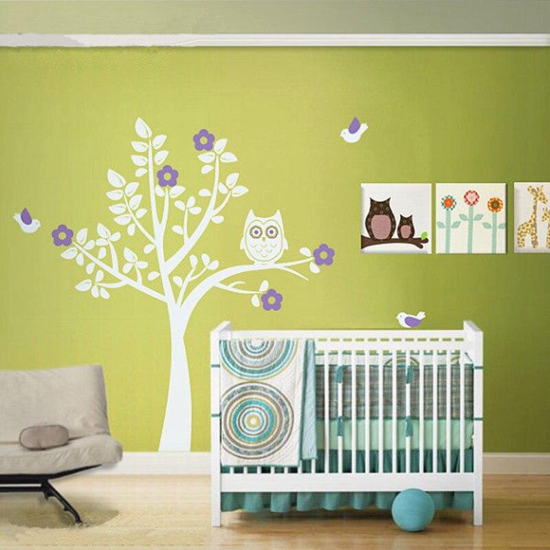 Low Price Owl Squatting Tree Decals Bird Wall Stickers Baby Bedroom Wall Art Decor Baby Nursery Grow Paradise Home Decorration