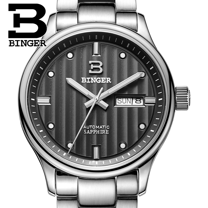 Switzerland men's watch luxury brand Wristwatches BINGER business Automatic men watches sapphire full stainless steel B5006-10 switzerland watches men luxury brand men s watches binger luminous automatic self wind full stainless steel waterproof b5036 10