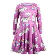2018 Kids Dress for Girl Cartoon Girls long sleeve Dresses Unicorn Children Clothing Winter Cute Toddler Fashion Party Costume