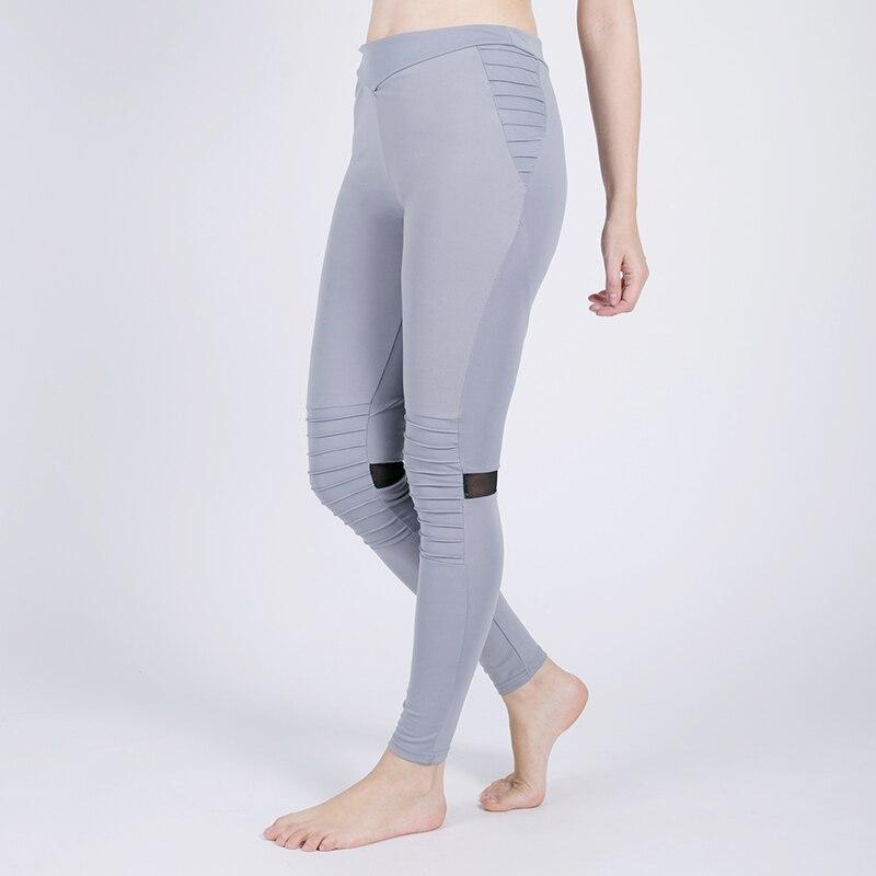 New Women Sports Yoga Pants Fitness Sportwear Trousers Leggings Pleated Mesh Compression Gym Pleat Splicing Yoga leggings