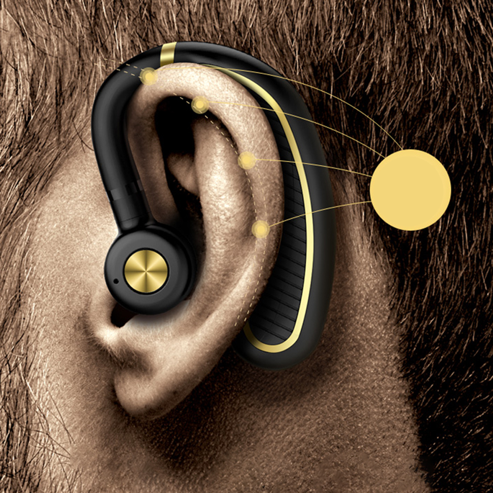 KHH wireless car headphone portable handsfree bluetooth 4.1 metal ring rotation earbuds headphone 70 days standby