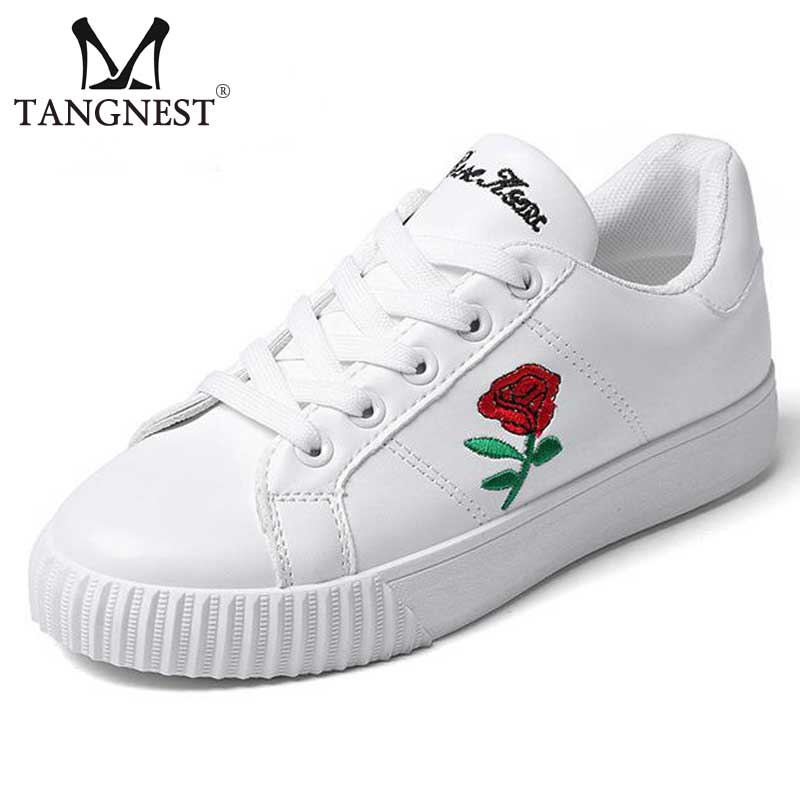 Tangnest 2017 Embroider White Women Shoes Casual Flower Printed Women s Vulcanize Shoes Lace Up Flats