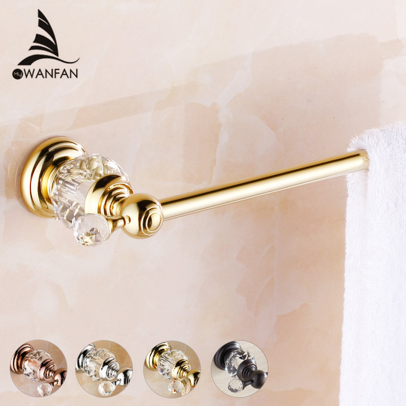 Towel Bars Brass Crystal Golden Wall mounted Single Towel Bar Holder Luxury Towel Rack Bar restroom Bathroom Accessories HK-21 european antique brass double towel bars luxury towel rack towel bar wall mounted towel holder bathroom accessories zl 8711f