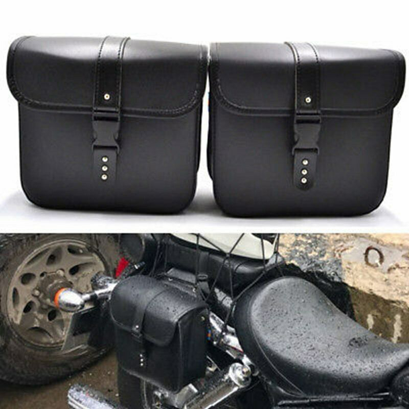 2 Pcs Black Motorcycle Leather Saddle Black Bags Storage Pouch Poly Urethane General Universal