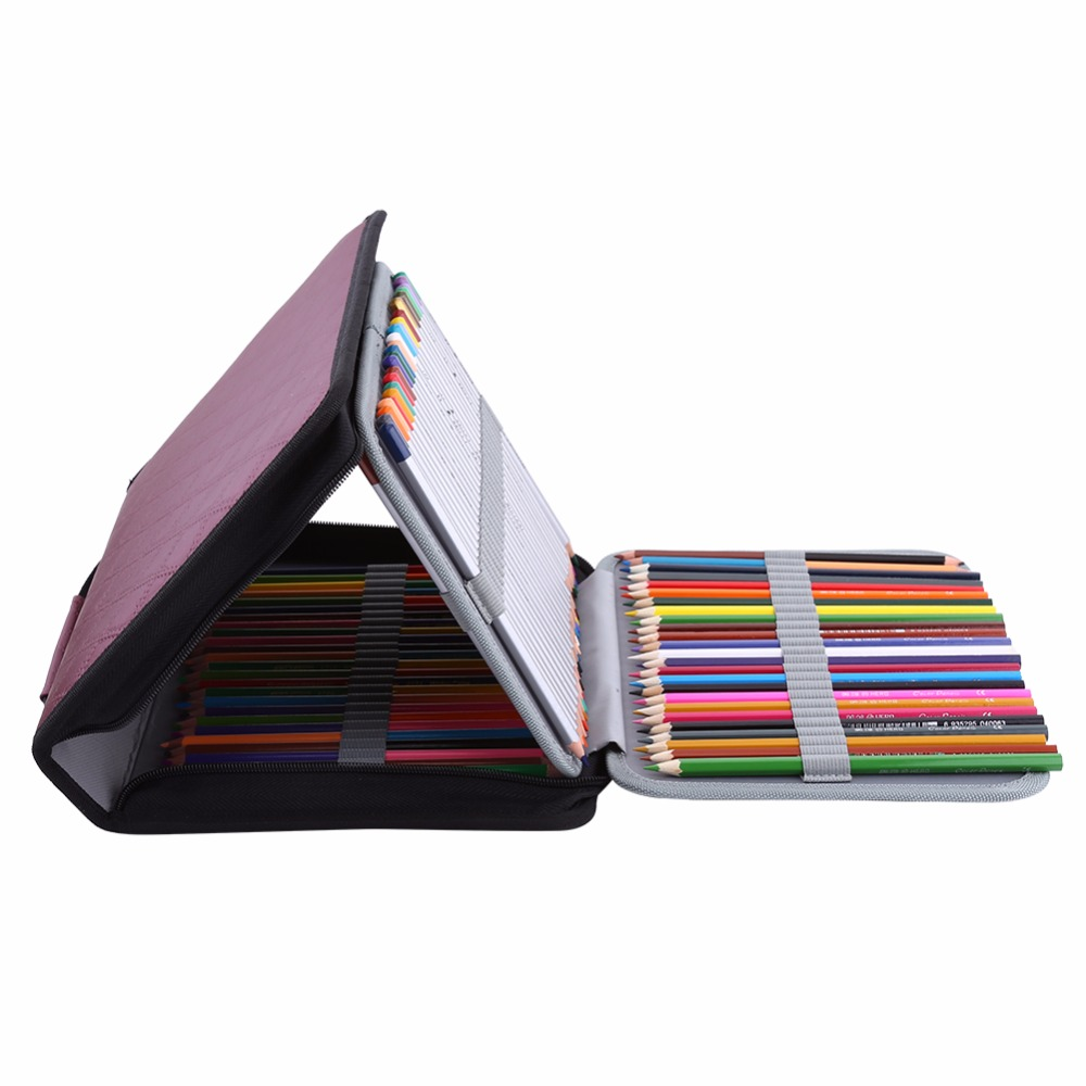 Portable Large Capacity Pencil Case 150 Slots PU Leather Colored Pencil Organizer Zipper Pen Pencil Bag For Art Supplies