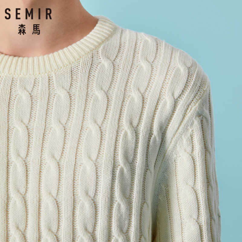 SEMIR мужской шерстяной вязаный свитер с косичками, Мужской пуловер, свитер, трикотажный свитер с круглым вырезом и манжетами, повседневный стиль для зимы