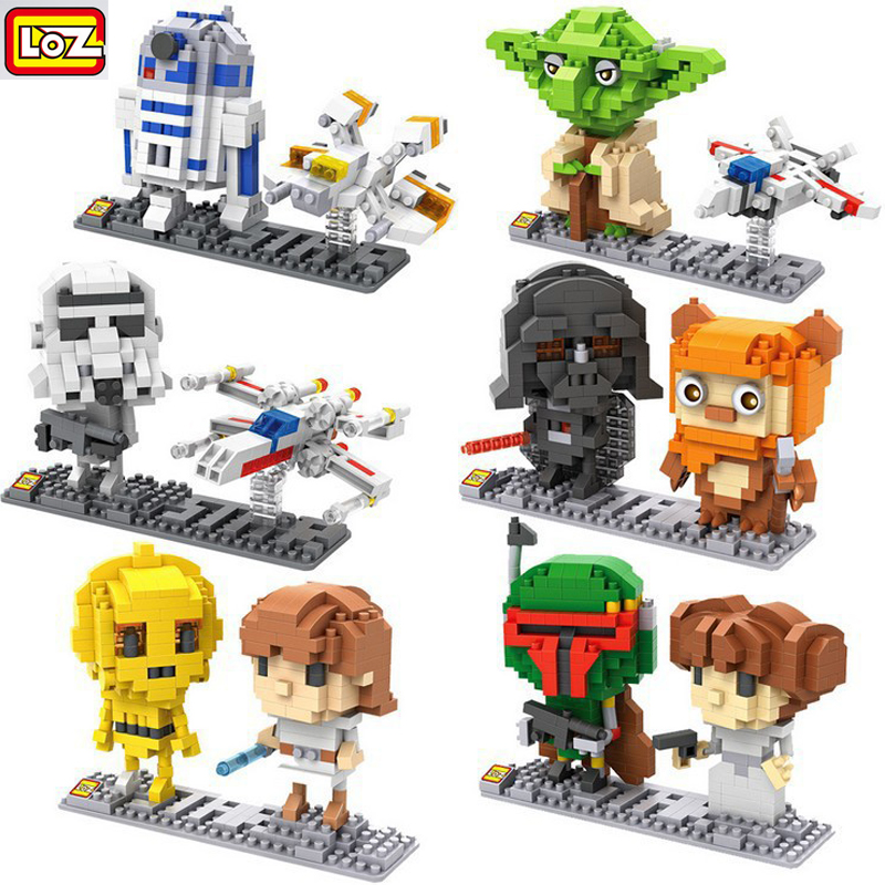 9528-9533 LOZ Star Wars Yoda Darth Vader DIY Model Diamond Building Blocks Nano Bricks Toys Children Early Educational Toys loz diamond blocks figuras classic anime figures toys captain football player blocks i block fun toys ideas nano bricks 9548