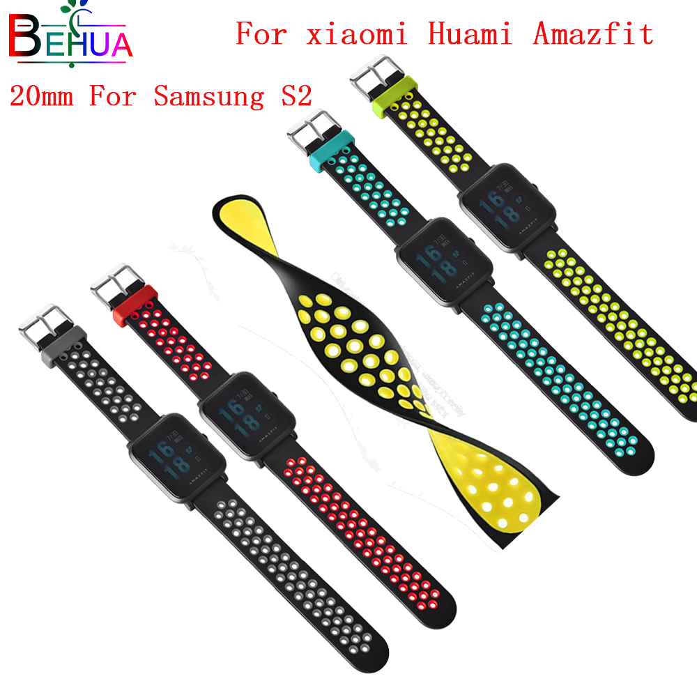 20mm soft silicone sport watchband strap For huami Amazfit Bip BIT PACE Lite youth For Samsung S2 smart watch replacement straps in Watchbands from Watches