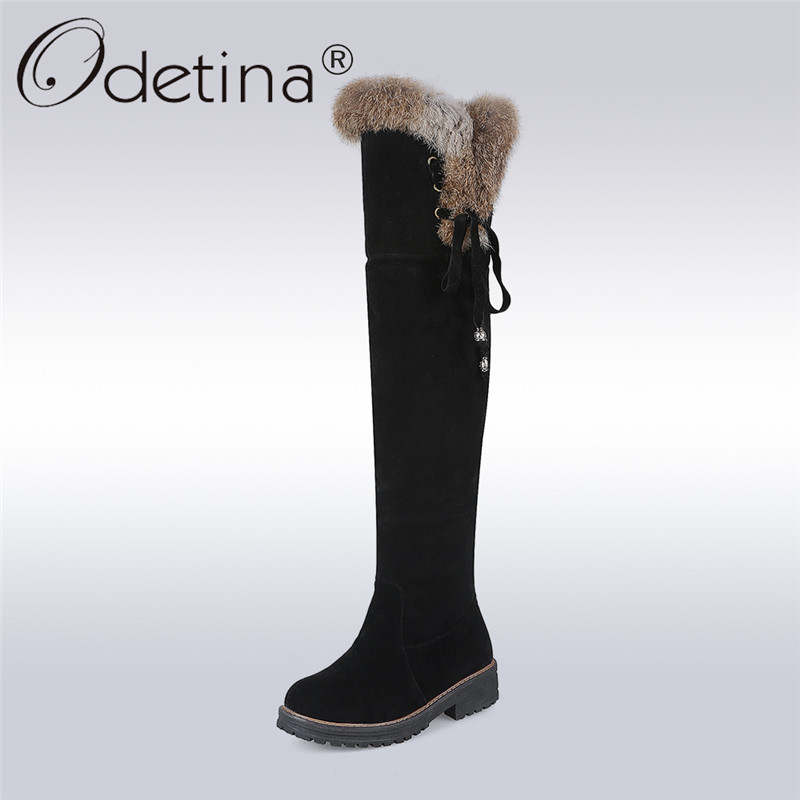Odetina 2017 Faux Suede Fur Snow Boots Over The Knee Lace Up Low Heel Thigh High Boots Winter Warm Shoes Thick Plush Big Size 44
