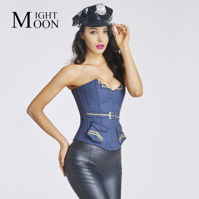 MOONIGHT Navy Style Mujeres Sexy Corsé y Bustiers Overbust con Bolsillos Faja de la moda Con Cuello En V Sml XL XXL Azul Tops