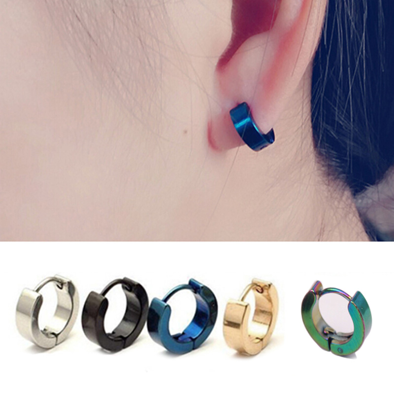 Fashion 1 Pair Unique Stainless Steel Hoop Ear Piercing <font><b>Earrings</b></font> Studs Cool Jewelry <font><b>for</b></font> Women <font><b>Men</b></font> LXH image
