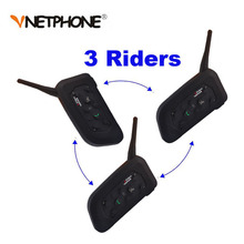 3PCS V6 1200M Motorcycle Bluetooth Helmet Intercom Full Duplex for 6 riders BT Wireless motocicleta Interphone Headsets