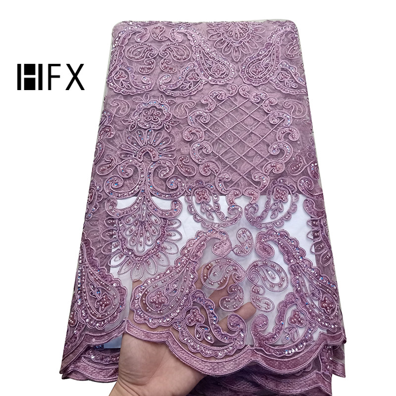 HFX Onion Color African Lace Fabrics Nigerian Embroidered Tulle Fabric For Dress High end Handmade Beaded