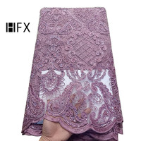 HFX Onion Color African Lace Fabrics Nigerian Embroidered Tulle Fabric For Dress High end Handmade Beaded French Net Lace H1610