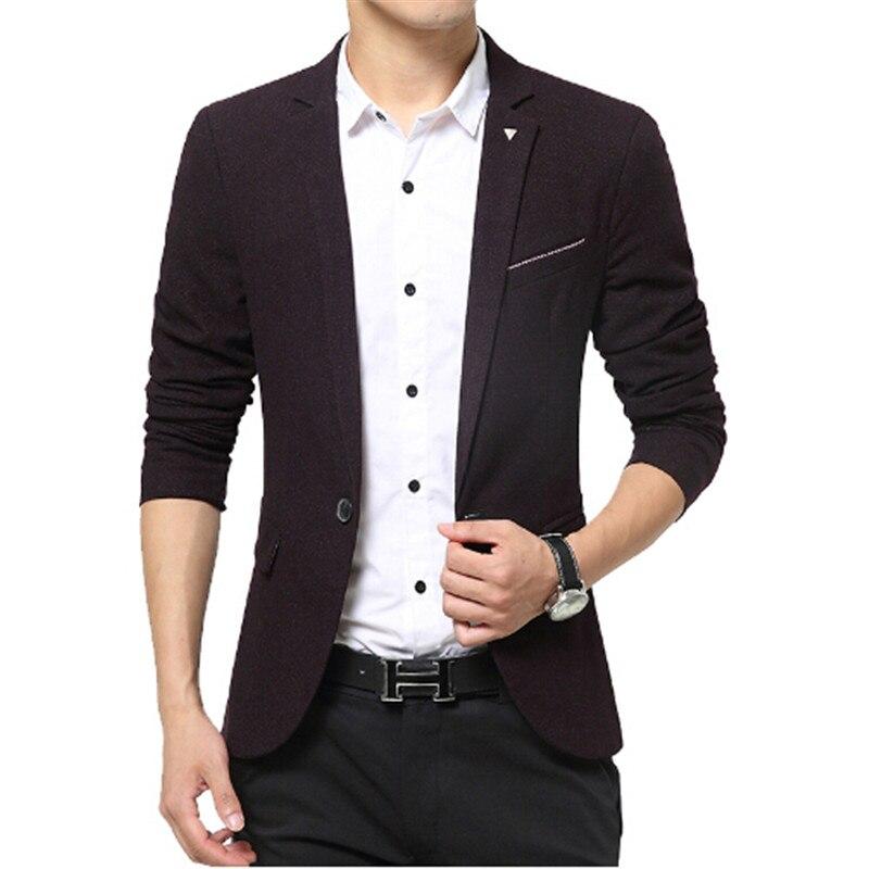 2016 Spring Mens Blazer Jacket Brand Clothing Single Button Long Sleeve Men Blazer Slim Fit Designs Navy blue Burgundy Purple ...