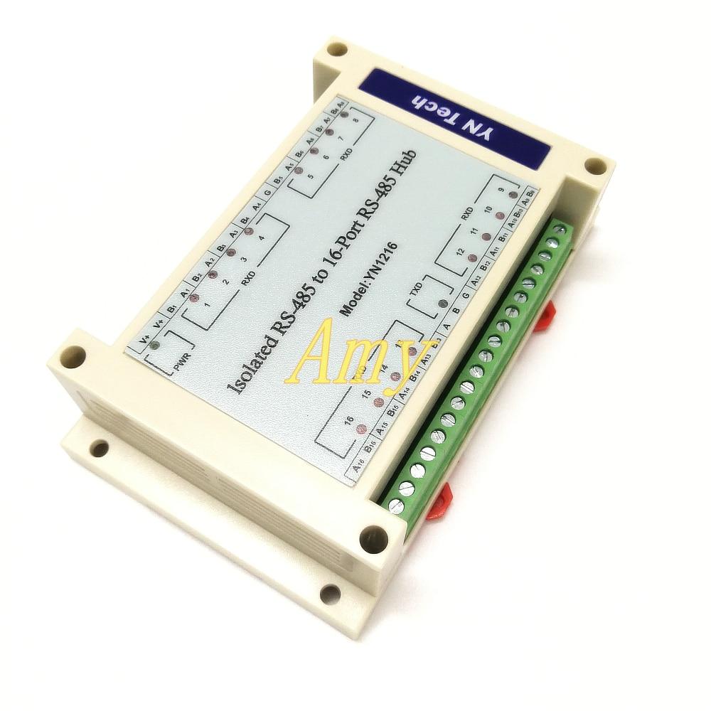 Lightning proof Isolated Bidirectional 16 way 16 port RS485 Hub Hub YN1216 Distributor Splitter