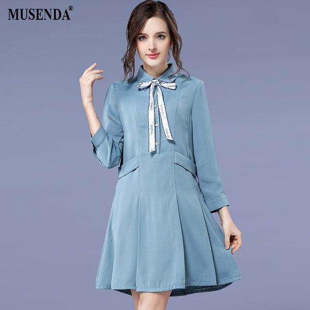 MUSENDA Plus Size Women Blue Bow Turn Down Collar Tunic Dress 2018 Spring Female  Lady Sweet Dresses Vestido Robe Clothing 5XL 1ca5b9e7ba74