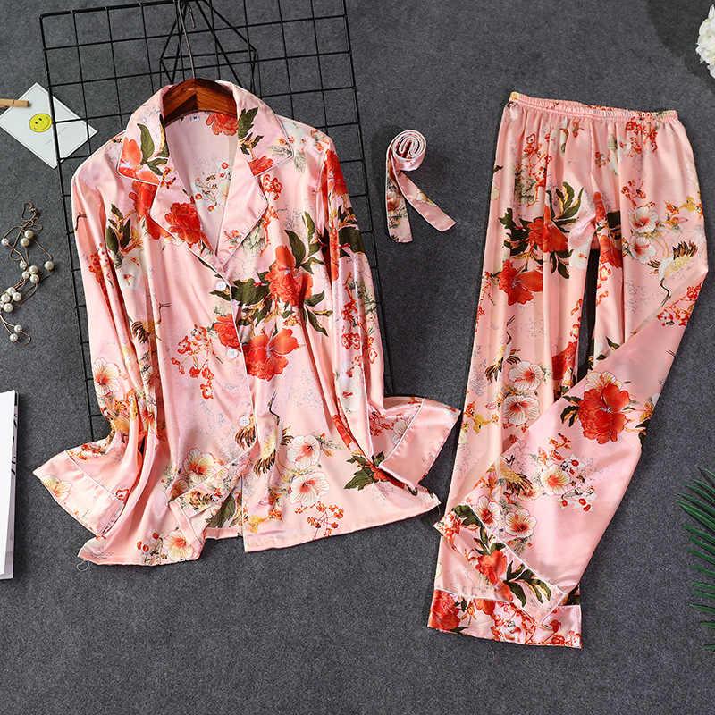 Sexy mujer camisa pantalones pijamas conjuntos ropa de dormir Primavera Verano señora ropa de casa traje de noche bata de baño Sleepshirts M-XXL