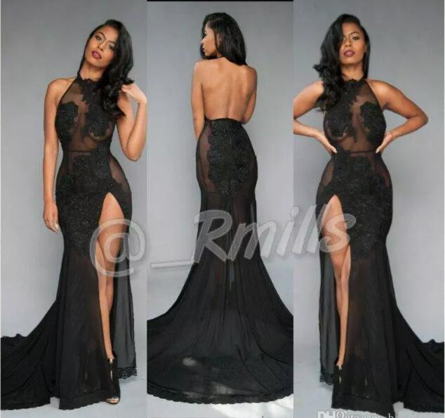 vestido marsala Open Back Sexy Black Prom Dresses 2017 High-Thing Split Vintage Lace Halter Evening party gown Red Carpet Gowns
