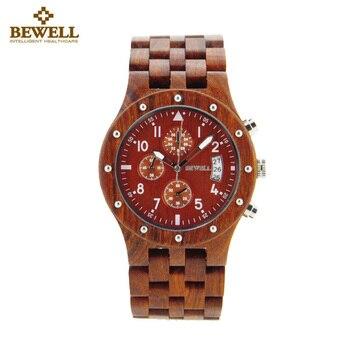 BEWELL Watches Men Fashion Male Business Wood Watch Man Classic Quartz Watches Waterproof Date Men Wristwatch Relogio Masculino 1