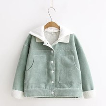 Women Corduroy Coat Cotton Pockets New Sweet Loose Hooded Letter Embroidery Jacket