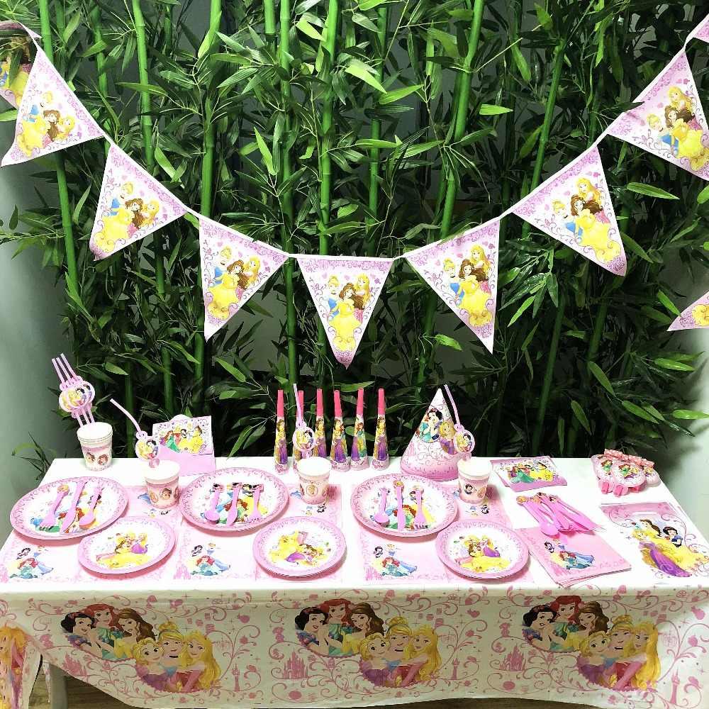 Disney princess ส้อม birthday party อุปกรณ์ตกแต่ง Baby Shower วันเกิดมีความสุขเด็กวันเกิด Party ตกแต่ง