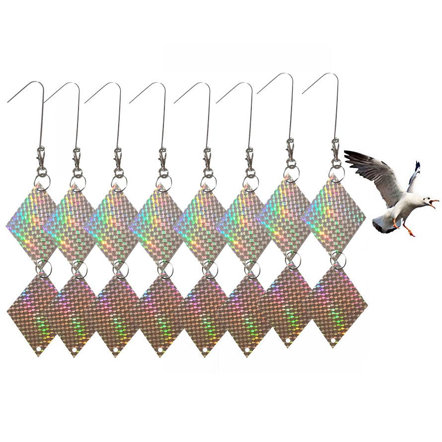 8Set Reflective Bird Scarer Deterrent Repellent Discs Pigeon Hawk Seagull Sparrow Woodpecker Crow Goose Pest Control in Repellents from Home Garden
