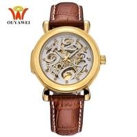 Hot Sale OUYAWEI Brand White Gold Men Automatic Self Wind Mechanical Wristwatch Leather Strap Fashion Business Male Watch Gifts