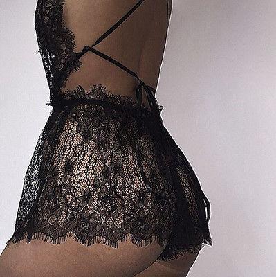 New Women Sexy Lace Floral Jumpsuits  Underwear Sleepwear Playsuits Black