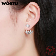 2e6ee6fbf WOSTU 925 Sterling Silver Original Design Brid Nest Pearl Swallow Earrings  Jacket for Women Luxury S925 Jewelry Brincos BKE337