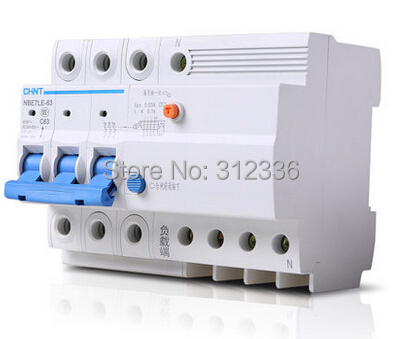 Free Shipping Two years Warranty LE C63 3P+N 63A 3 pole ELCB RCD residual current circuit-breaker earth leakage 400 amp 3 pole cm1 type moulded case type circuit breaker mccb