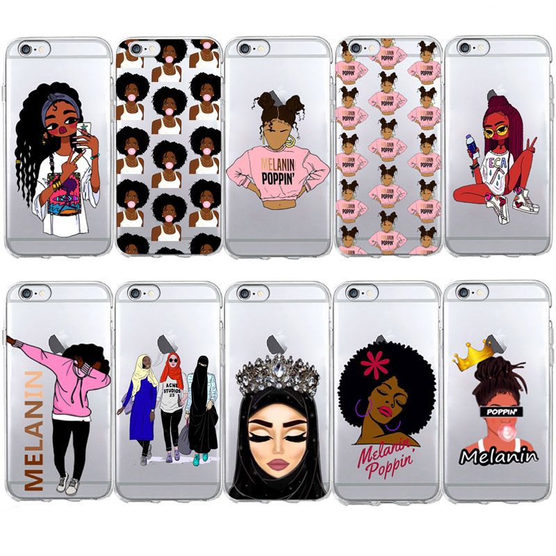 Melanin Poppin Queen Case For iPhone 7 5S SE 6s Black Muslim girl eyes Soft  TPU b37a3e316e4