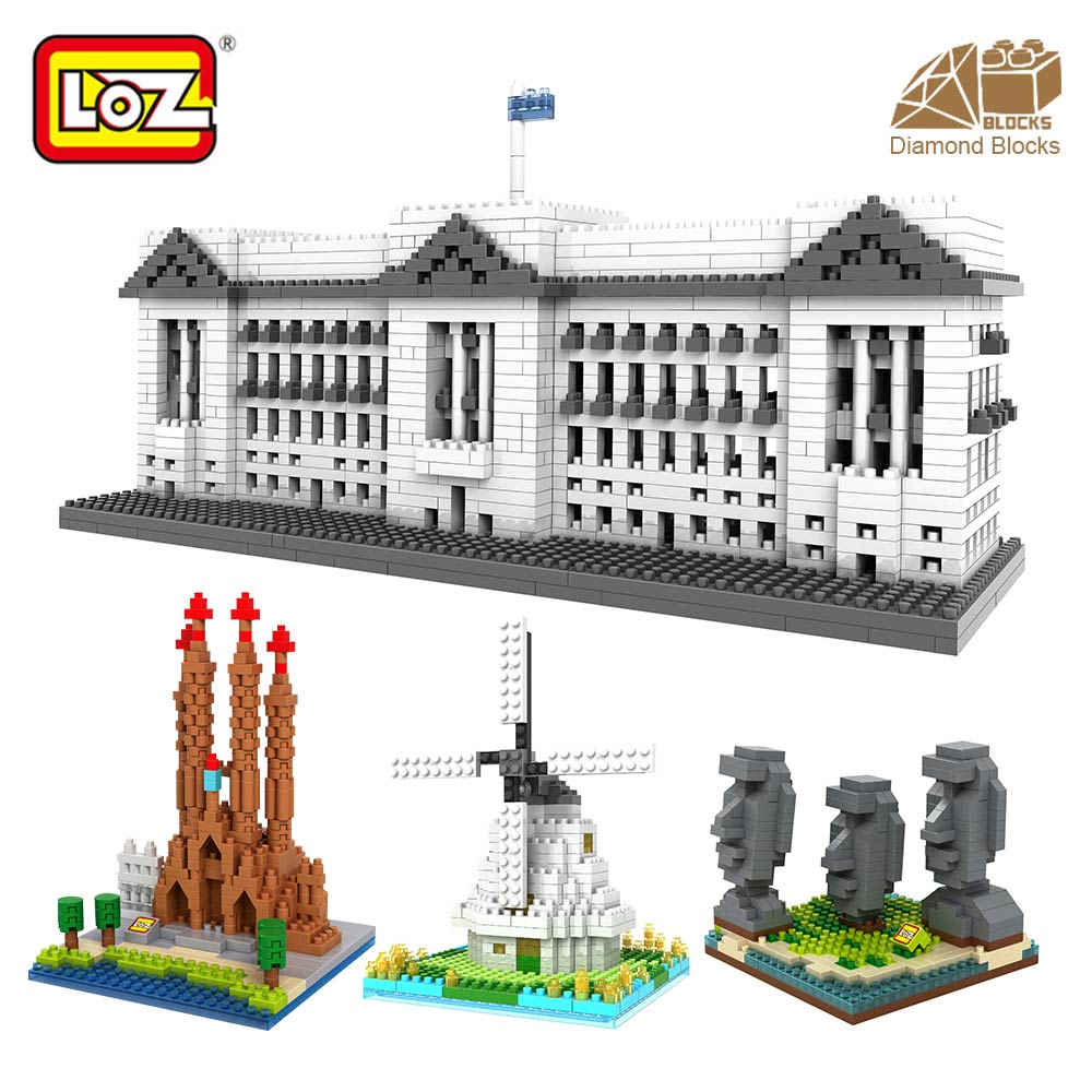 LOZ Blocks Architecture Toy For Kid Building Bricks City DIY Bricks Toys Mini Diamond Nano Blocks Assembly Model Famous House loz 9402 transformation optimusprime diamond bricks minifigures building block best legoelieds toys