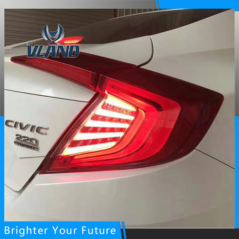 Вланд 4шт светодиодные задние фонари подходят на Хонда Цивик 10-е 2015 2016 2017 Красная копченая лампы тормоза