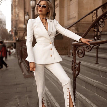 New Winter Woman Sets White Long Sleeve Jacket&Pants 2 Two Pieces Set Night Out Celebrity Evening Party Women Sets