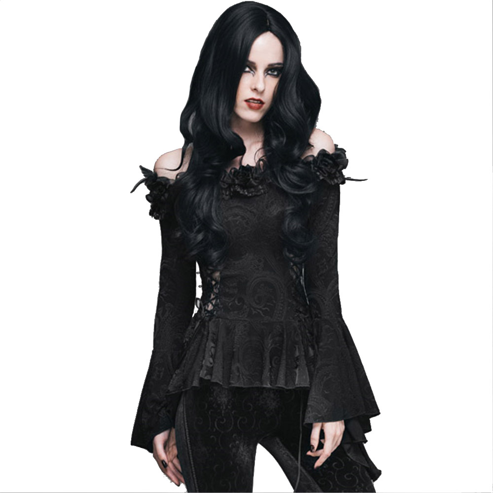 Gothic Women Black Sexy Lace Victorian Blouse Flare Sleeve