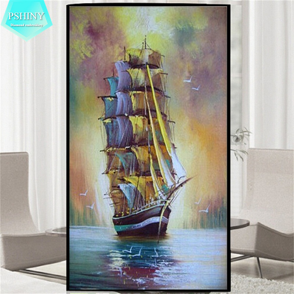 Pshiny 5d diy diamond embroidery landscape landscape for Ship decor home