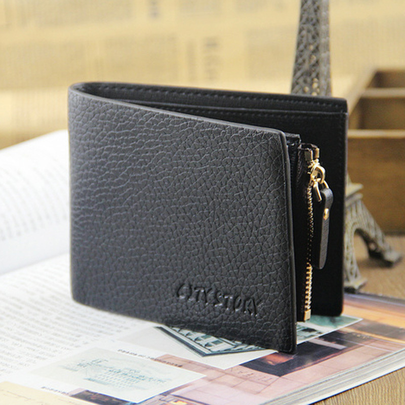 Fashion Men Wallets Quality PVC Leather Lychee Emboss Wallet Black Coffee Business Short Style Card Holder Purse Free Shipping lorways 016 stylish check pattern long style pu leather men s wallet blue coffee