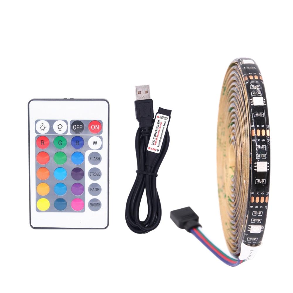 USB 5V RGB 5050 LED Strip Light with RF Controller Waterproof TV Backlighting indoor living room decor