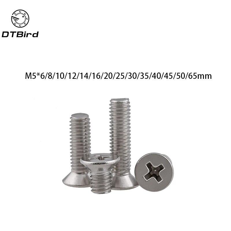 50pcs GB819 M5 Metric Thread 304 Stainless Steel flat head cross Countersunk head screw m5*(6/8/10/12/14/16/20/25/30~65) mm 100pcs gb819 m4 304 stainless steel metric thread flat head cross countersunk head screw m4 6 8 10 12 14 16 18 20 25 80 mm